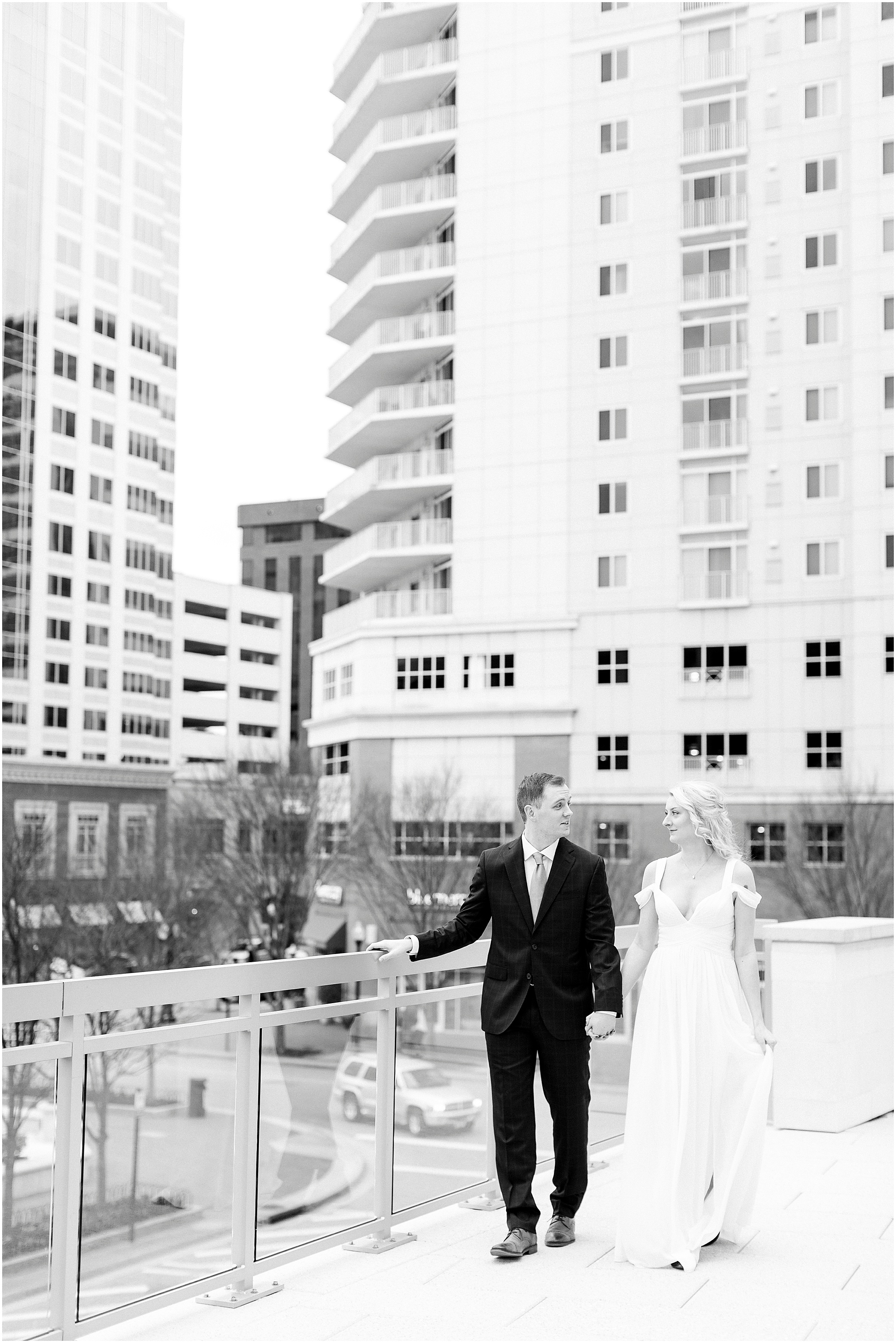 town center Virginia Beach elopement bride and groom winter elopement