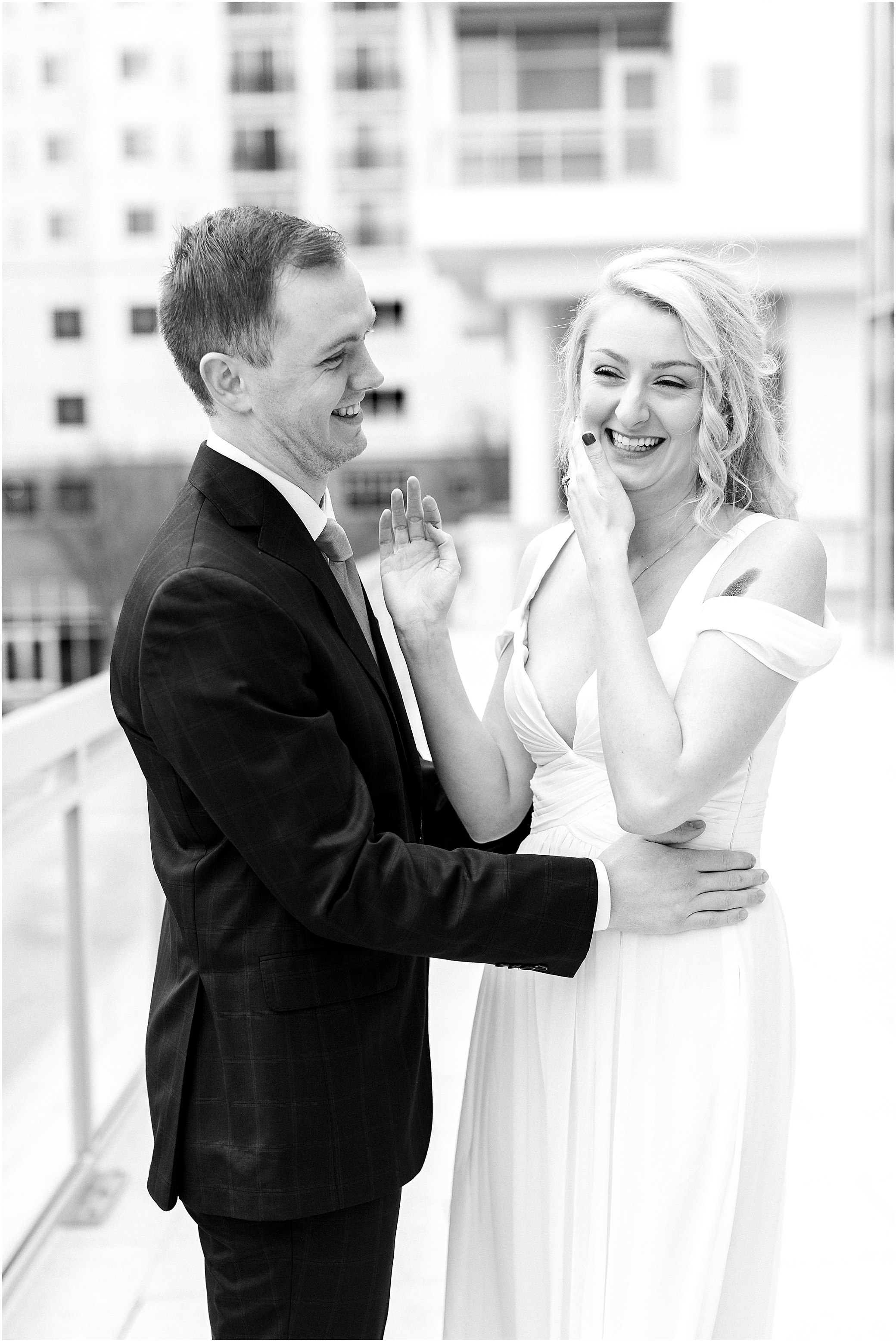 town center Virginia Beach elopement bride and groom candid