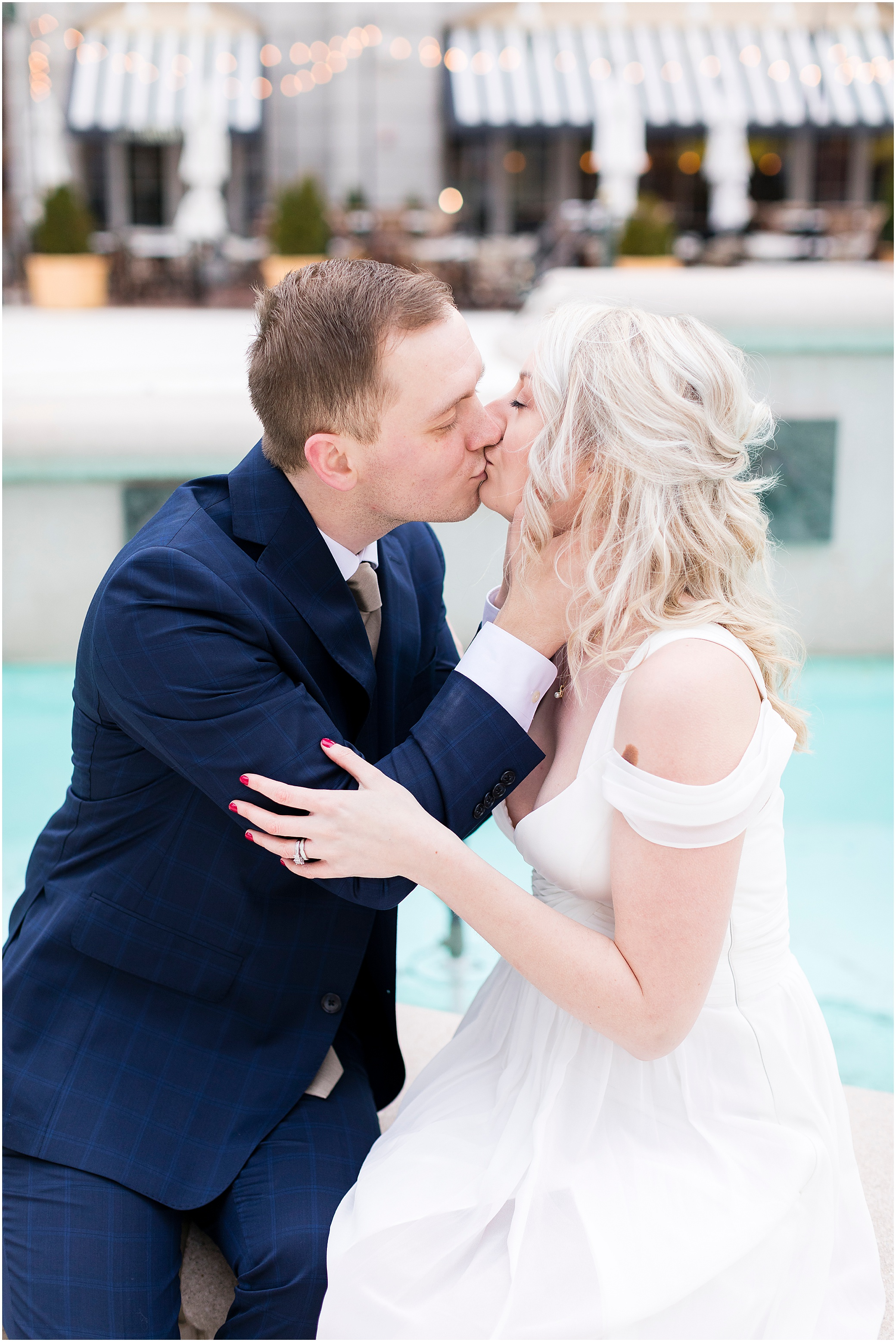 town center Virginia Beach elopement bride and groom