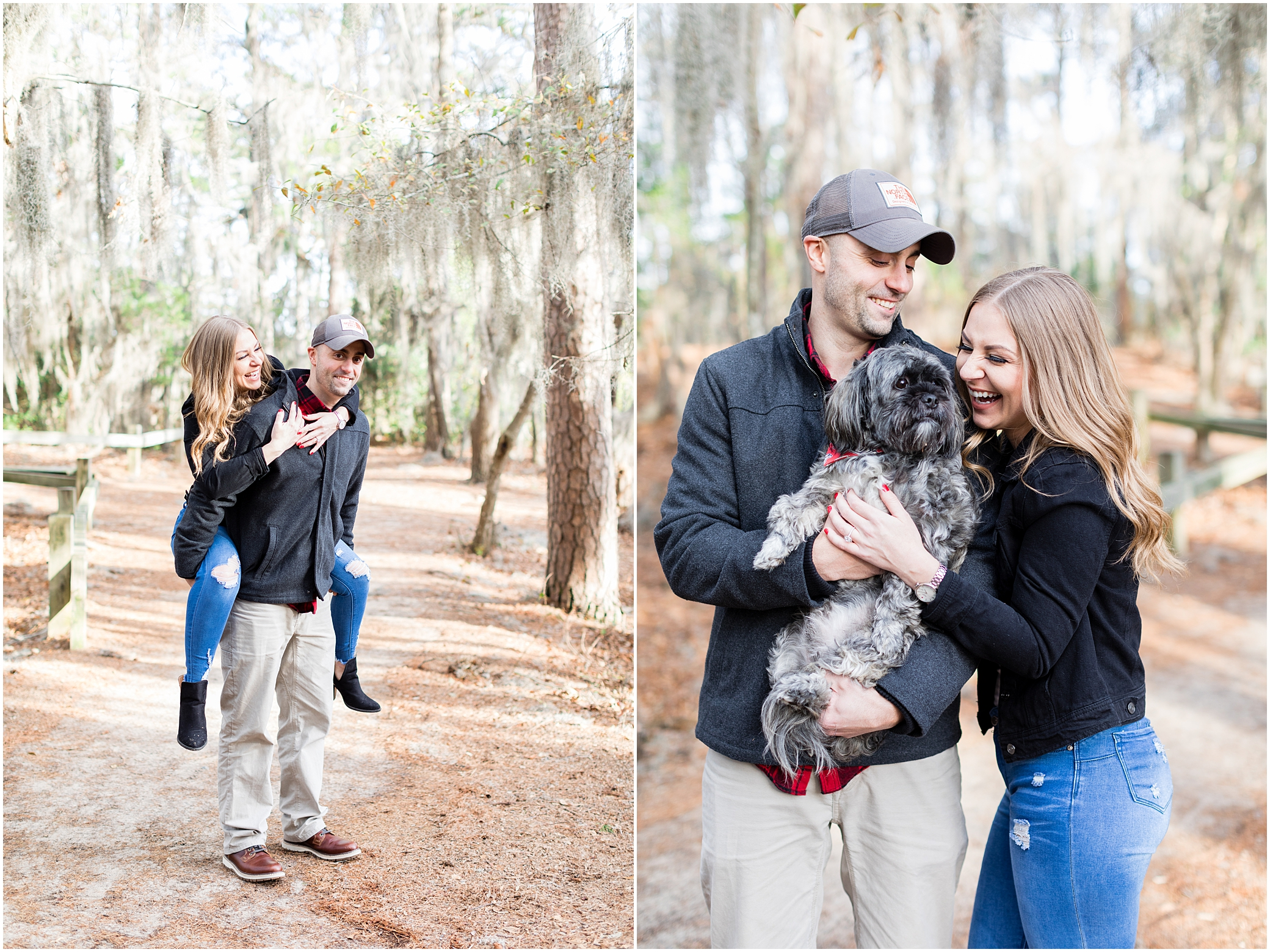 Virginia state park engagement, first landing state park engagement photography, spanish moss