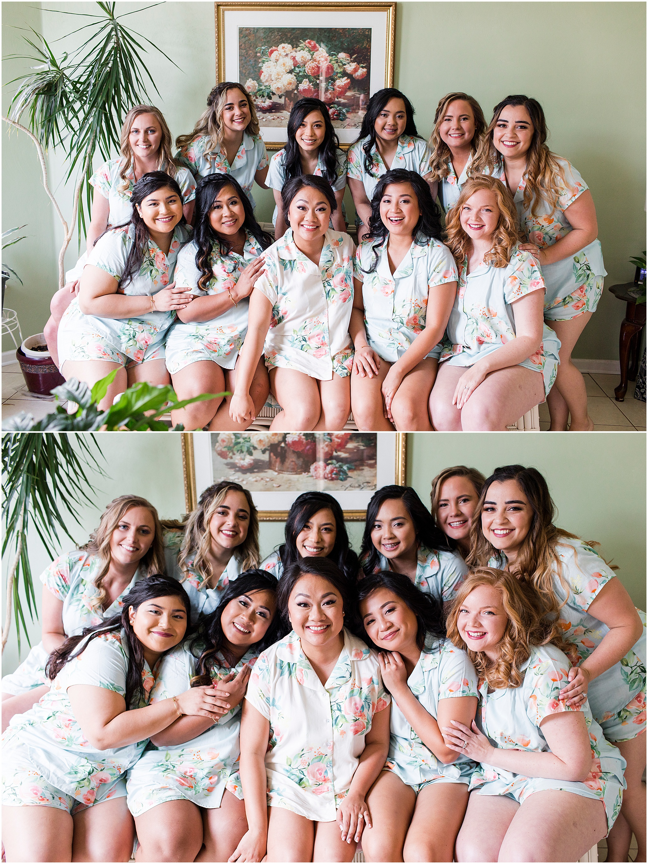 spring wedding at the hermitage museum and gardens, Jessica Ryan photography, bridesmaids in matching pjs