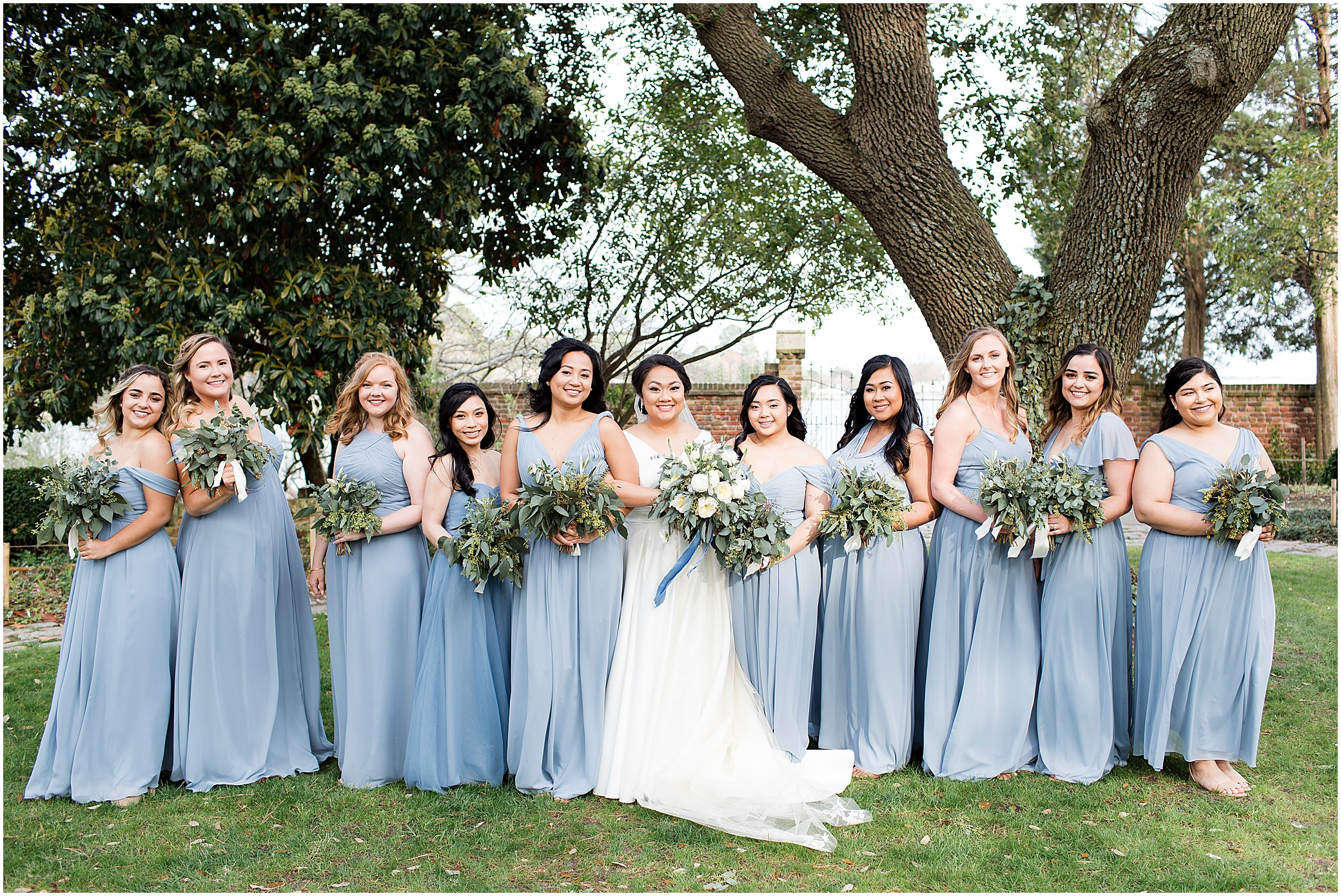 bridal party, spring wedding at the hermitage museum and gardens, Jessica Ryan photography, distinctive event rentals, crafted stems wedding florist, sunkissed events