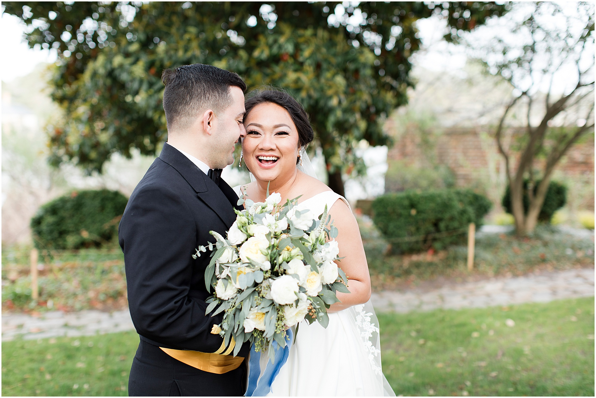 bride and groom candid portrait, spring wedding at the hermitage museum and gardens, Jessica Ryan photography, crafted stems wedding florist, sunkissed events, the makeup school bridal makeup