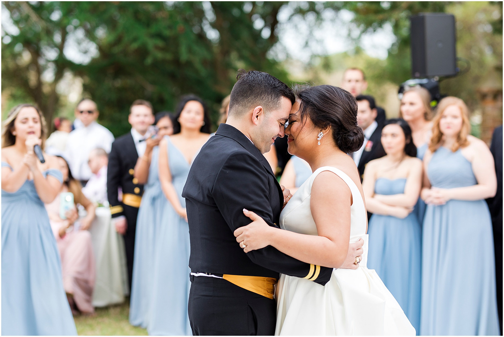 bride and groom first dance, spring wedding at the hermitage museum and gardens, Jessica Ryan photography, sunkissed events, outdoor wedding reception,