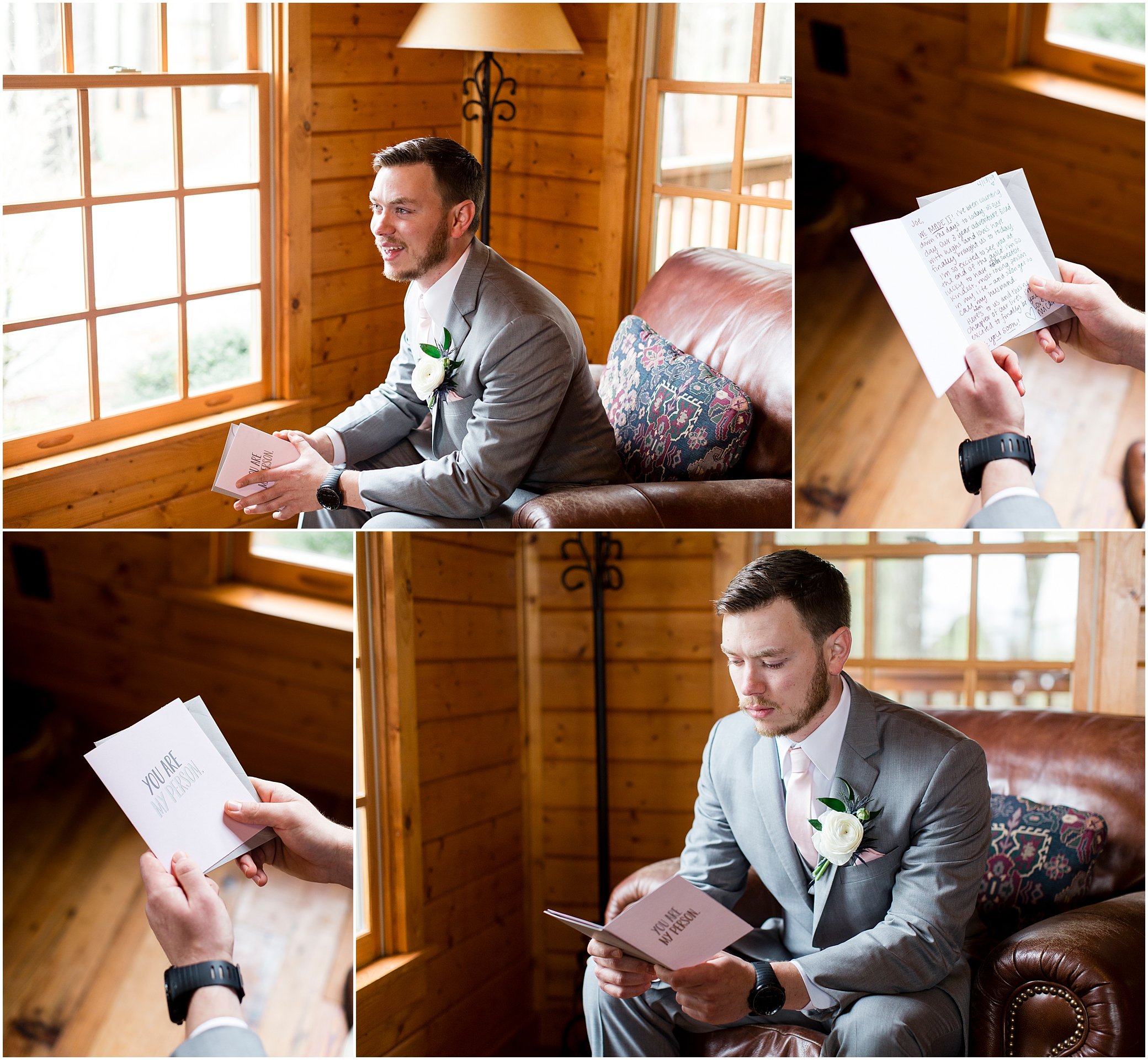 groom reading a letter from his bride at Sierra Vista Wedding