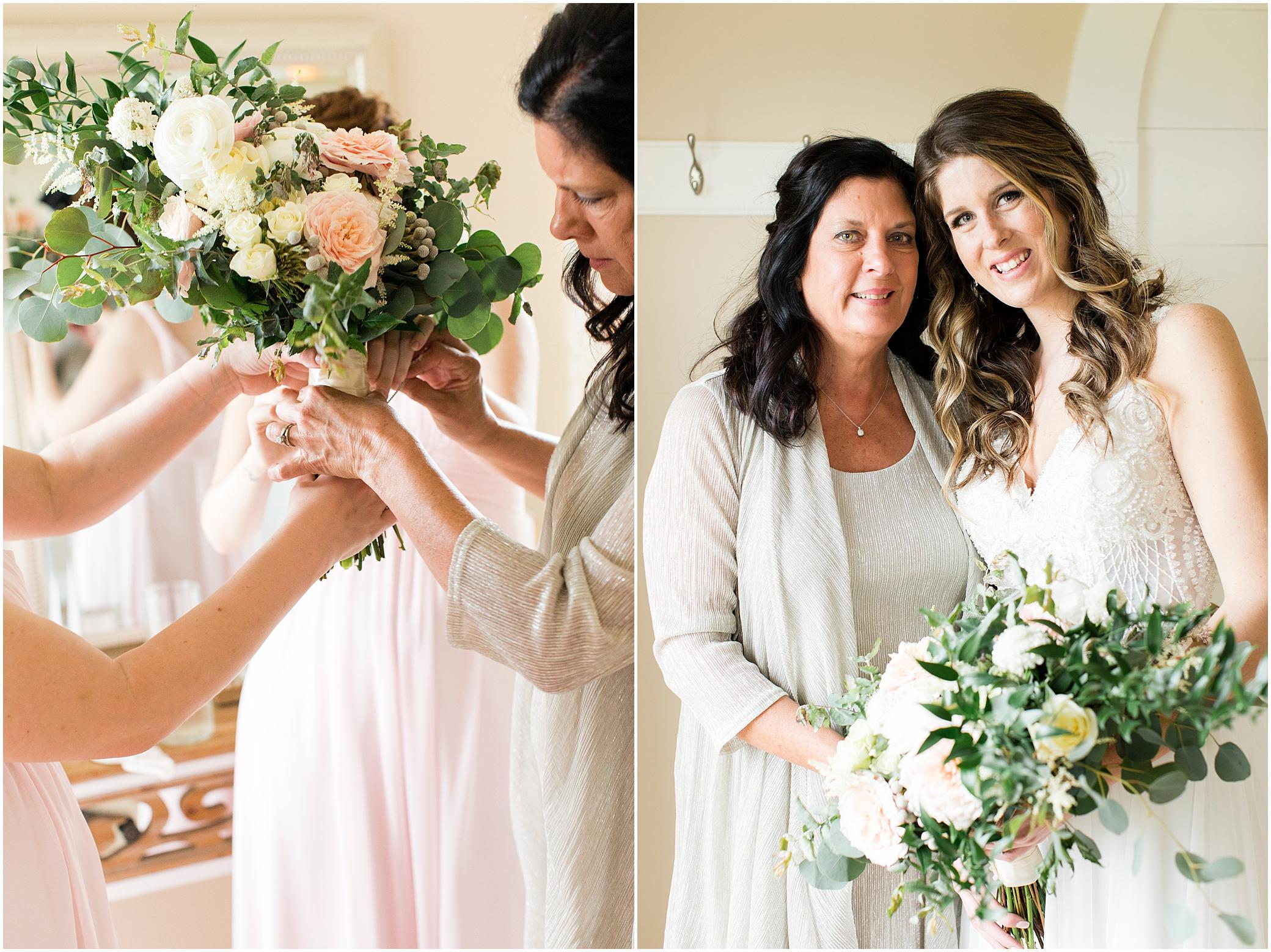 bridal portrait in the bridal suite at sierra vista wedding venue, bloom by doyle's bouquet