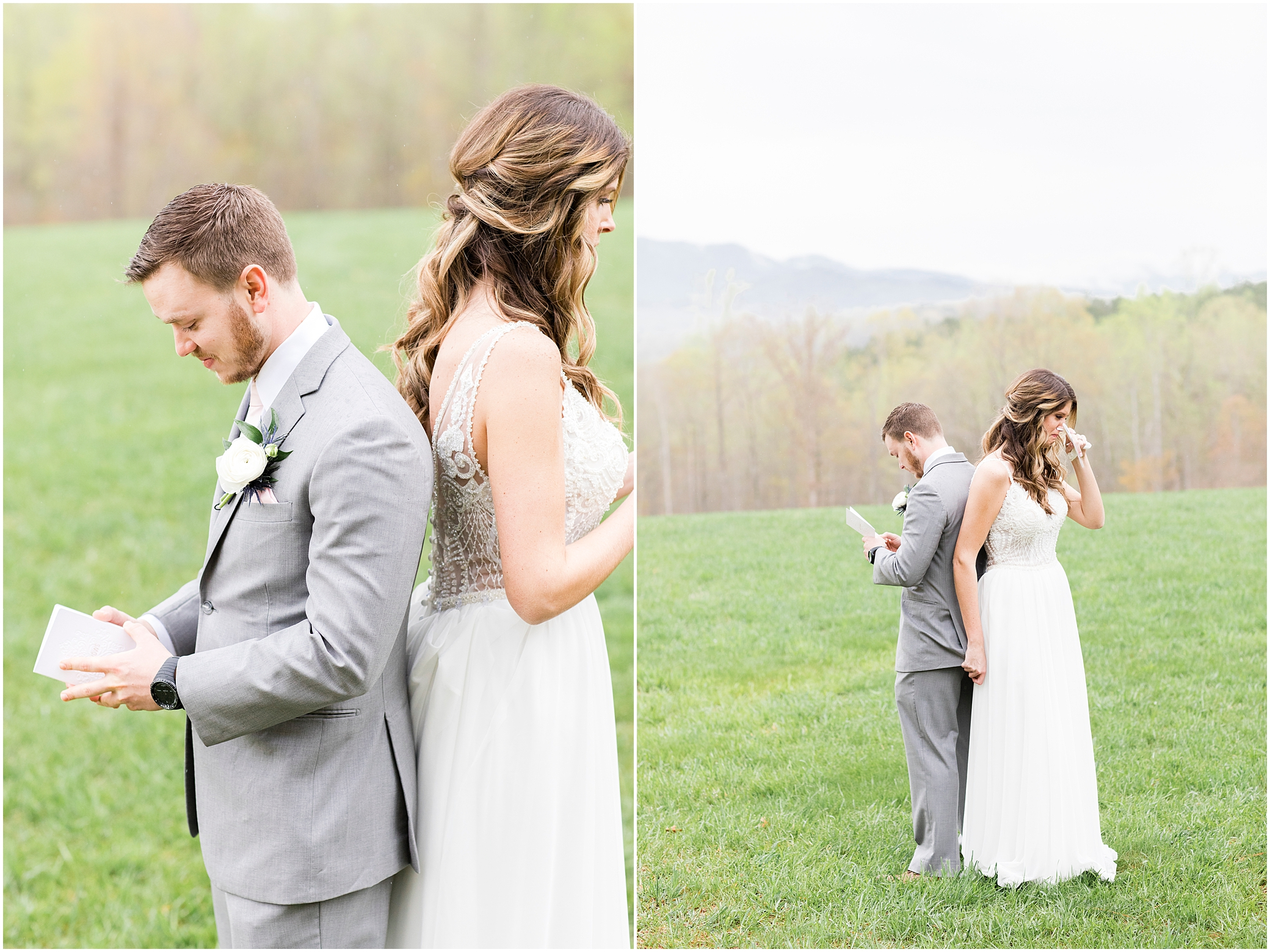 bride and groom reading their vows privately at wedding at sierra vista