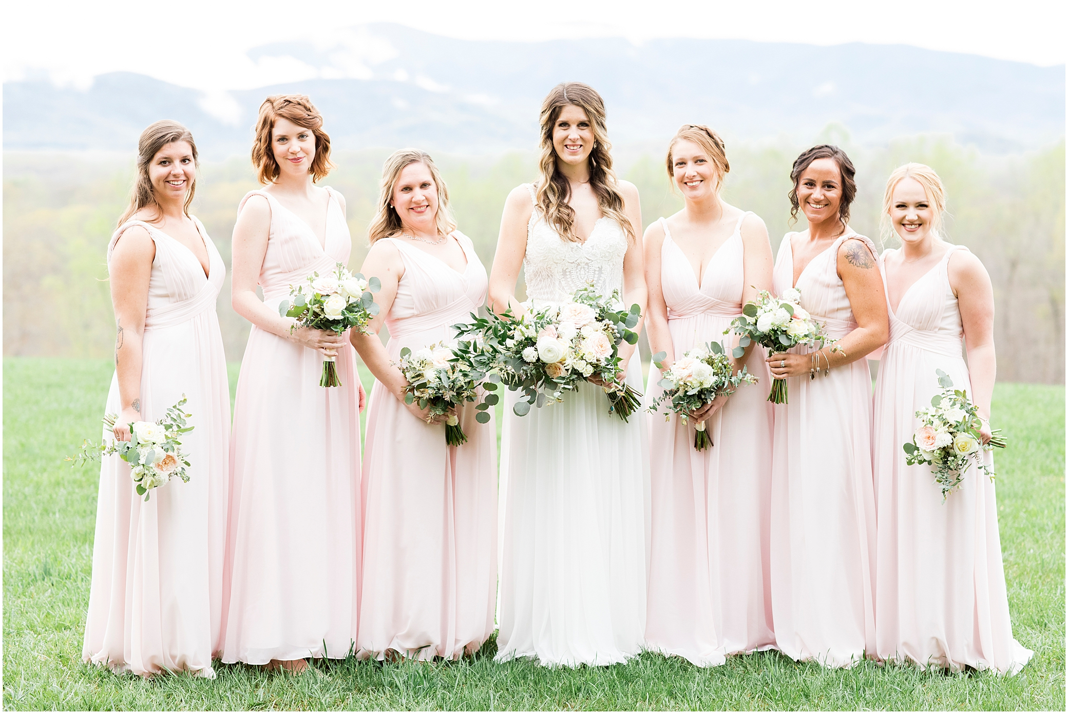 bridal party portrait at sierra vista wedding, a little party events, bloom by doyle's
