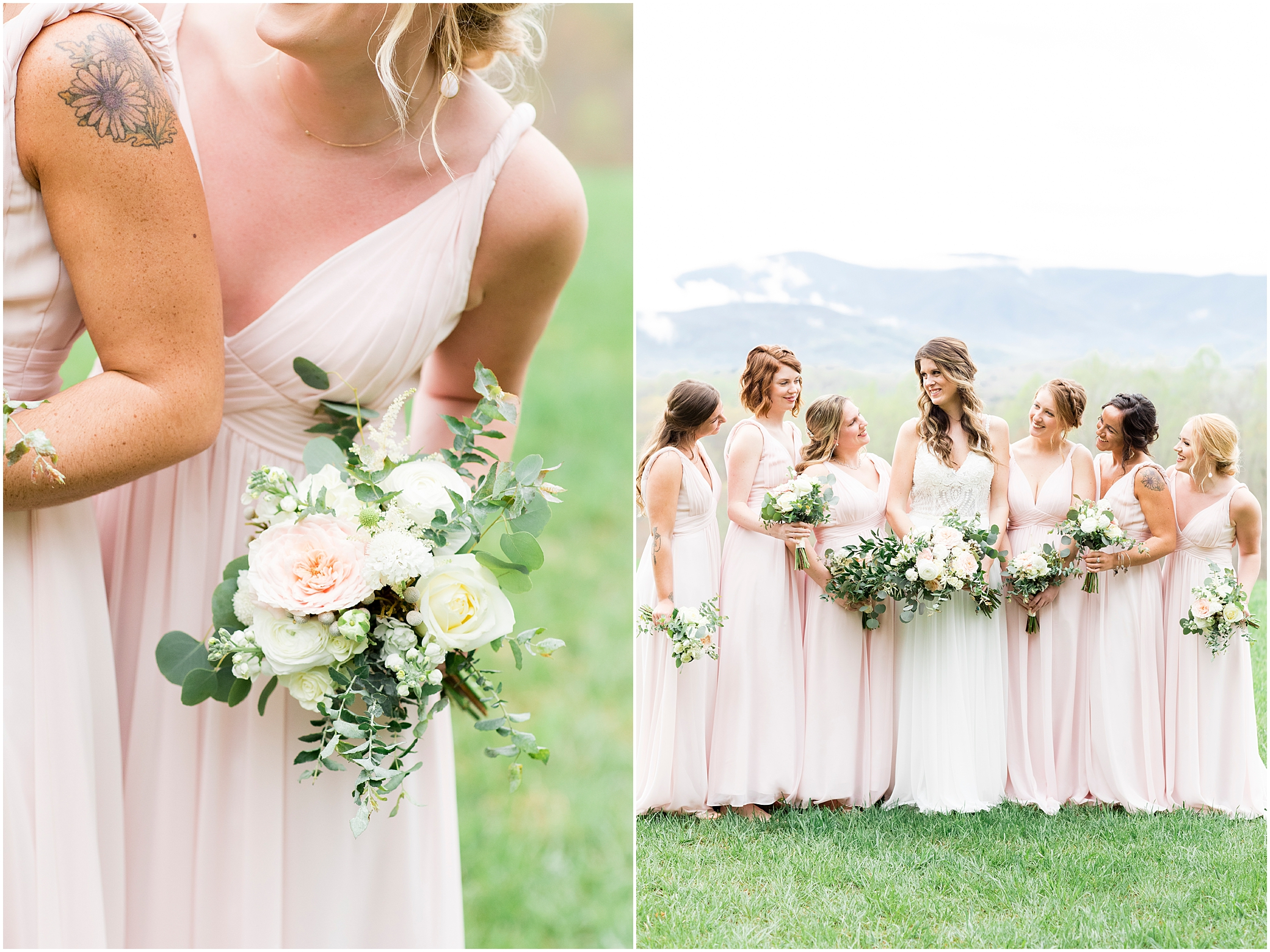 bridal party portrait at sierra vista wedding, bloom by doyle's