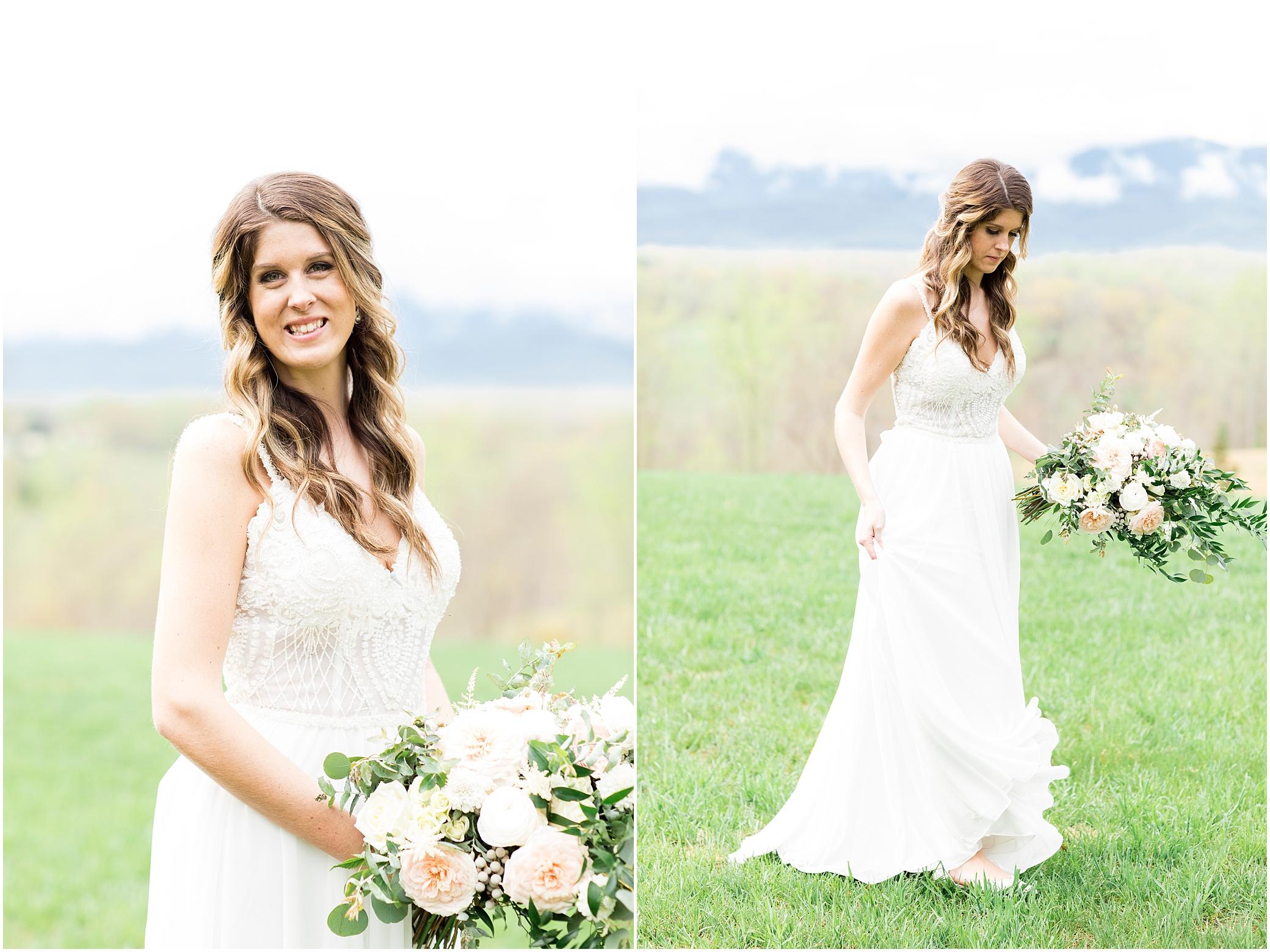 bridal portrait at sierra vista wedding, studio i do wedding dress