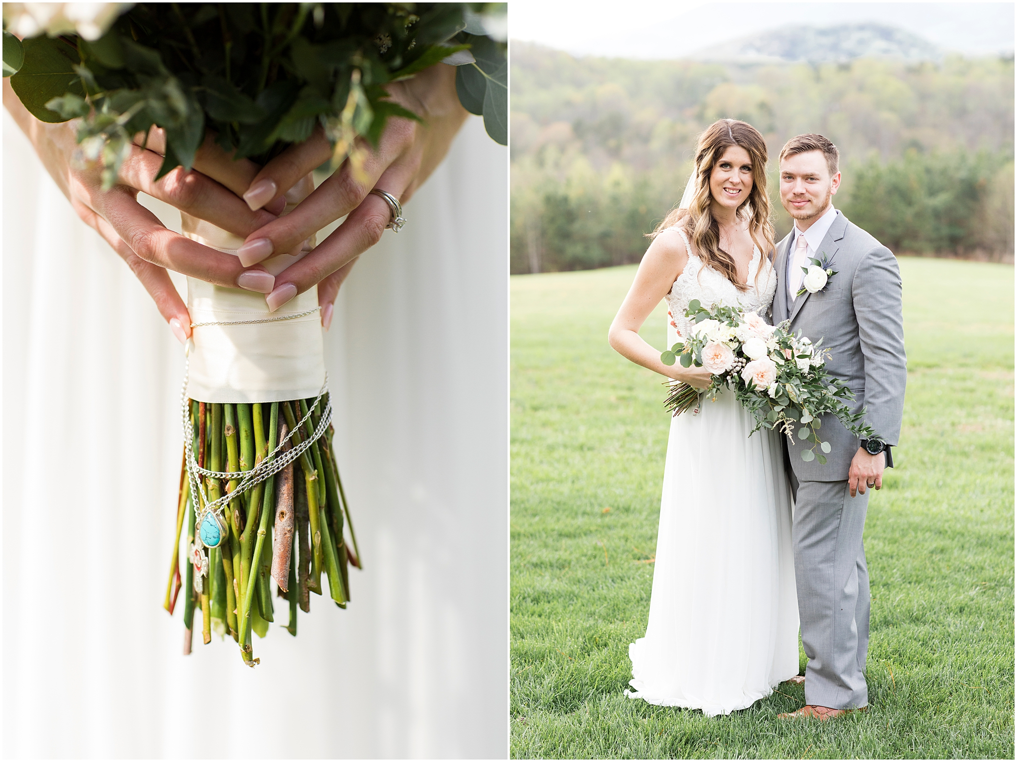 bride and groom portrait at sierra vista wedding, remembrance necklaces wrapped around bridal bouquet