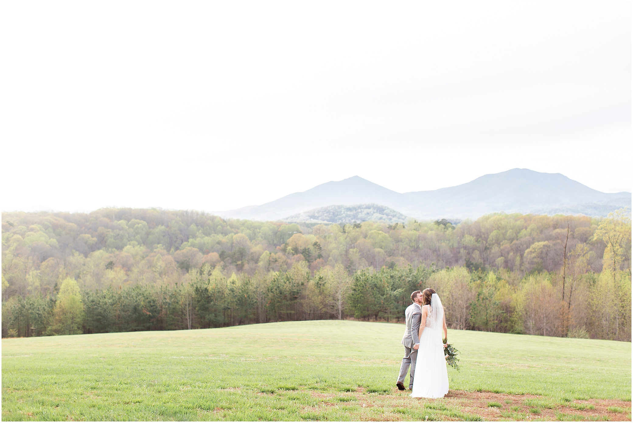 bride and groom portrait in front of the mountain views at sierra vista wedding
