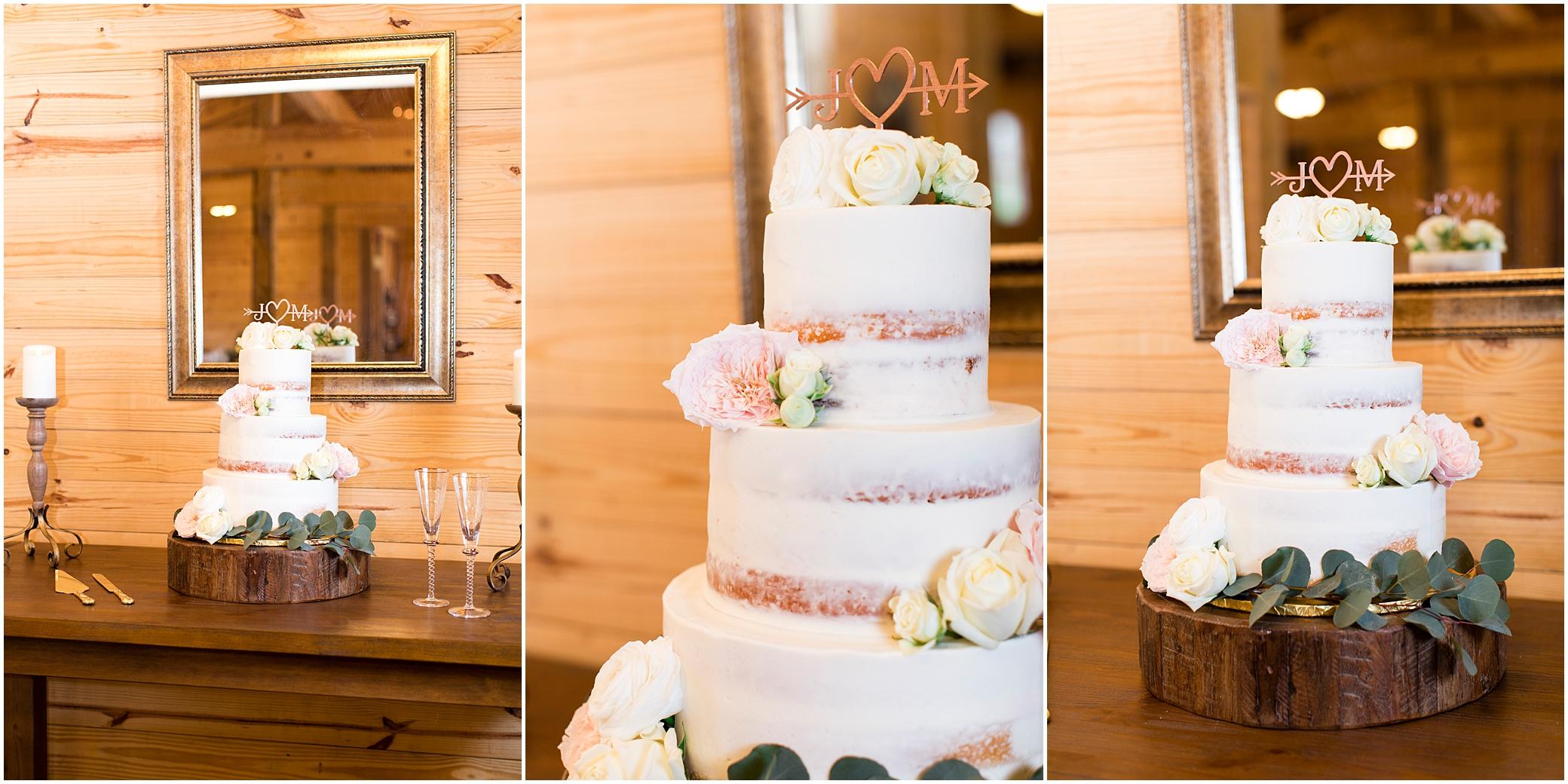 wedding reception decor at sierra vista wedding, wedding cake by angela hudson