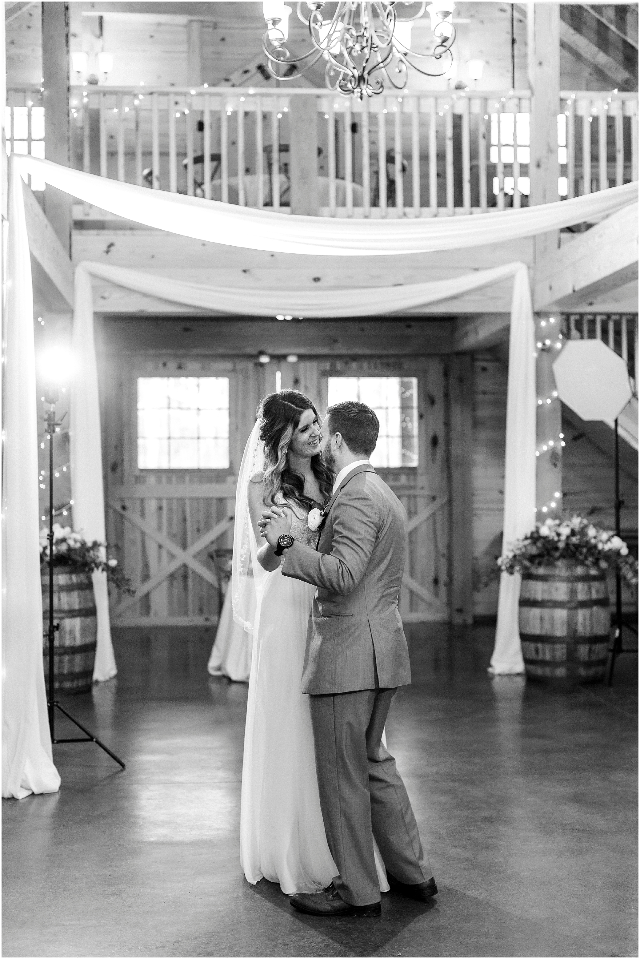 bride and groom first dance in barn at sierra vista wedding