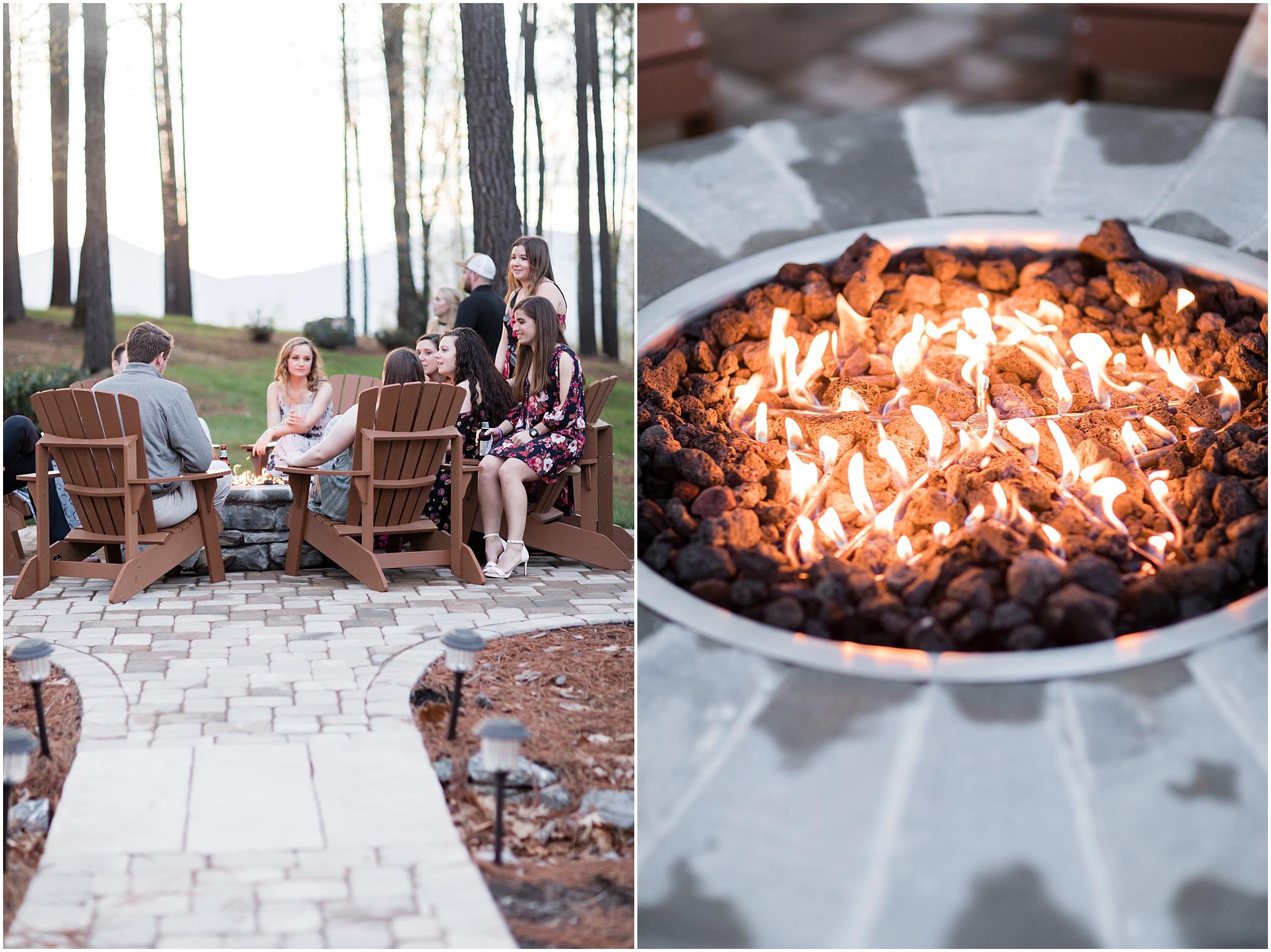 outdoor fire pit at wedding wedding reception at sierra vista wedding