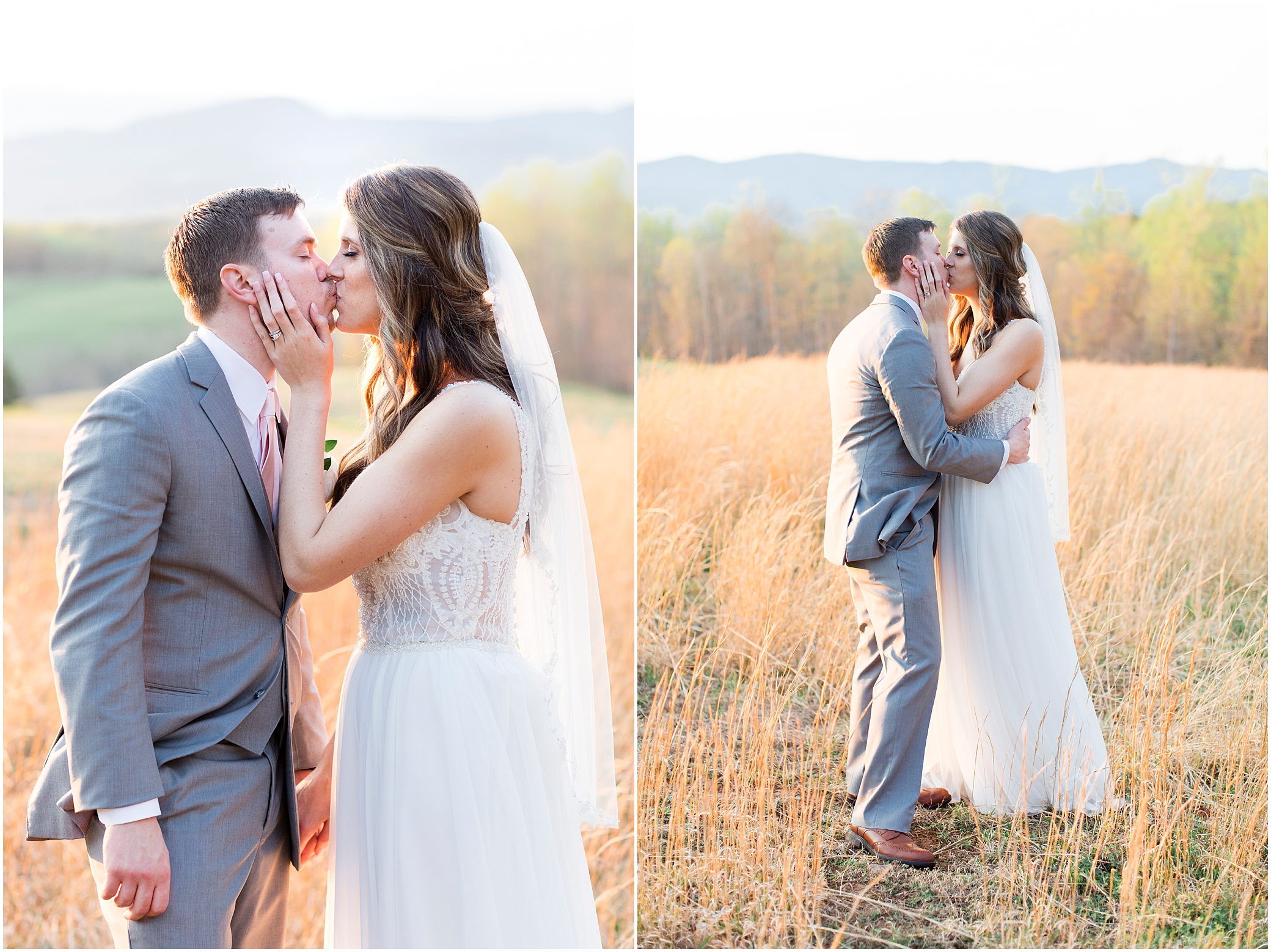 bride and groom kissing at sunset at sierra vista wedding