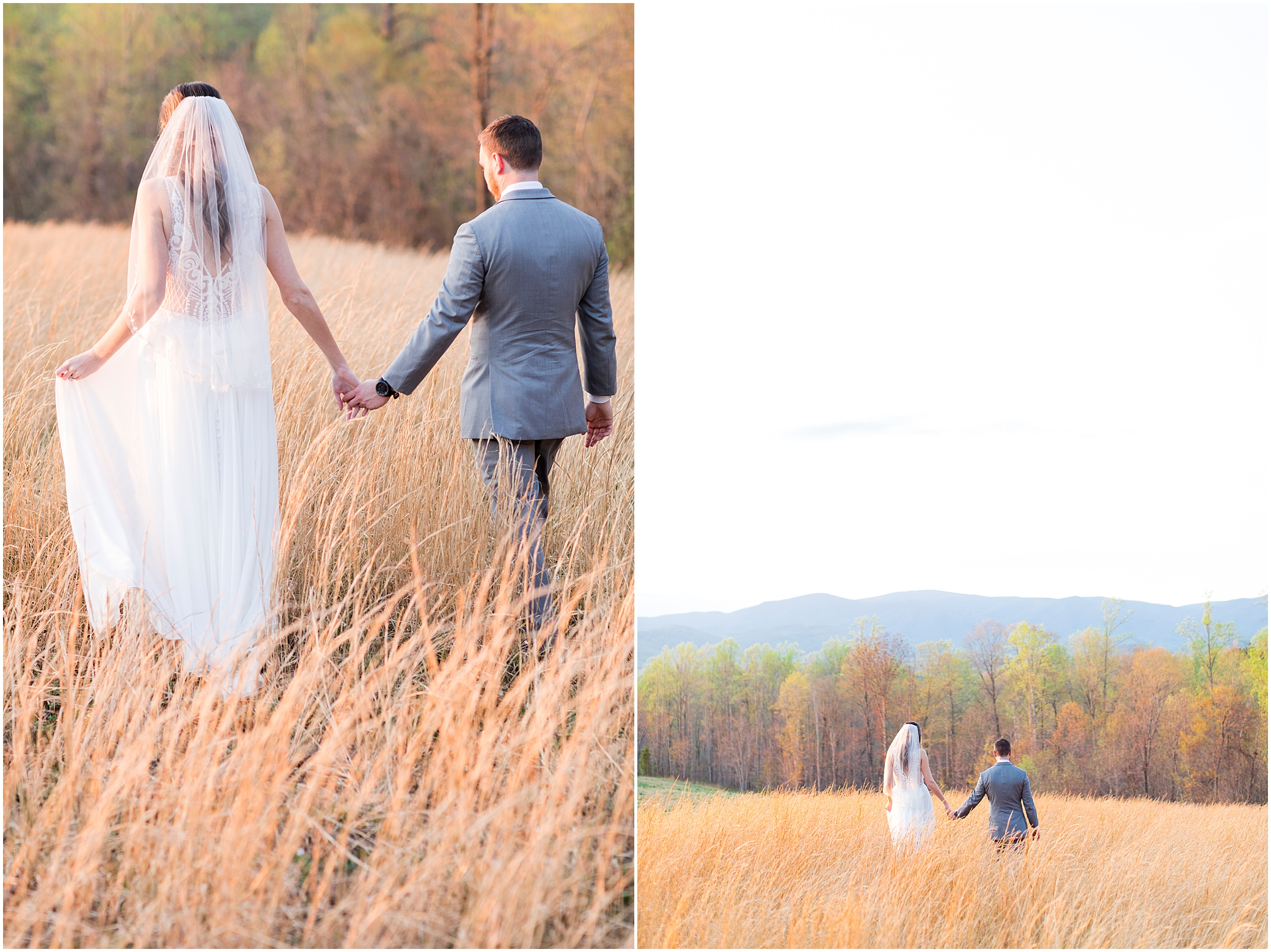 bride and groom walking in the field at sunset at sierra vista wedding