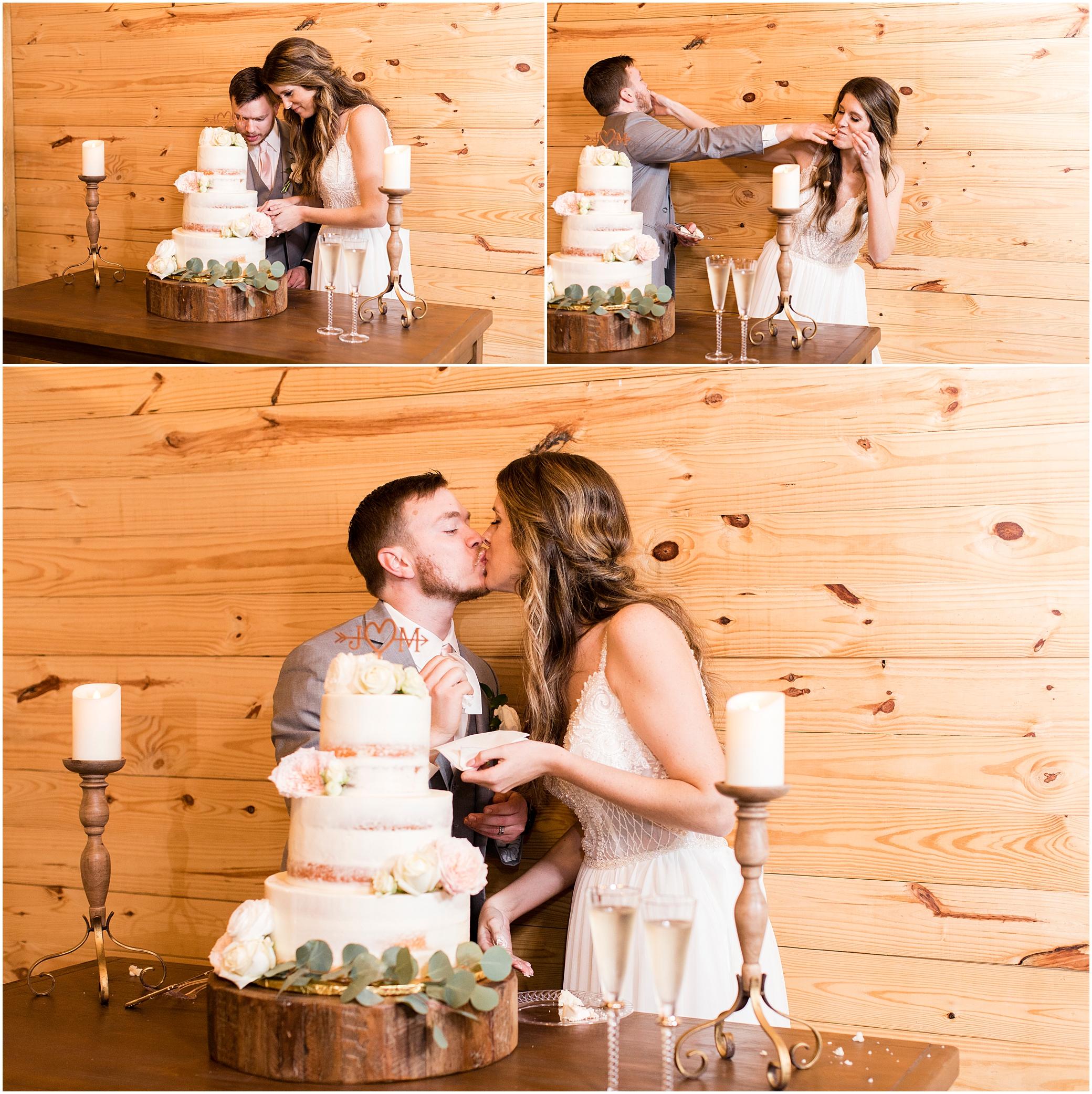wedding reception in barn at sierra vista wedding, cutting the cake