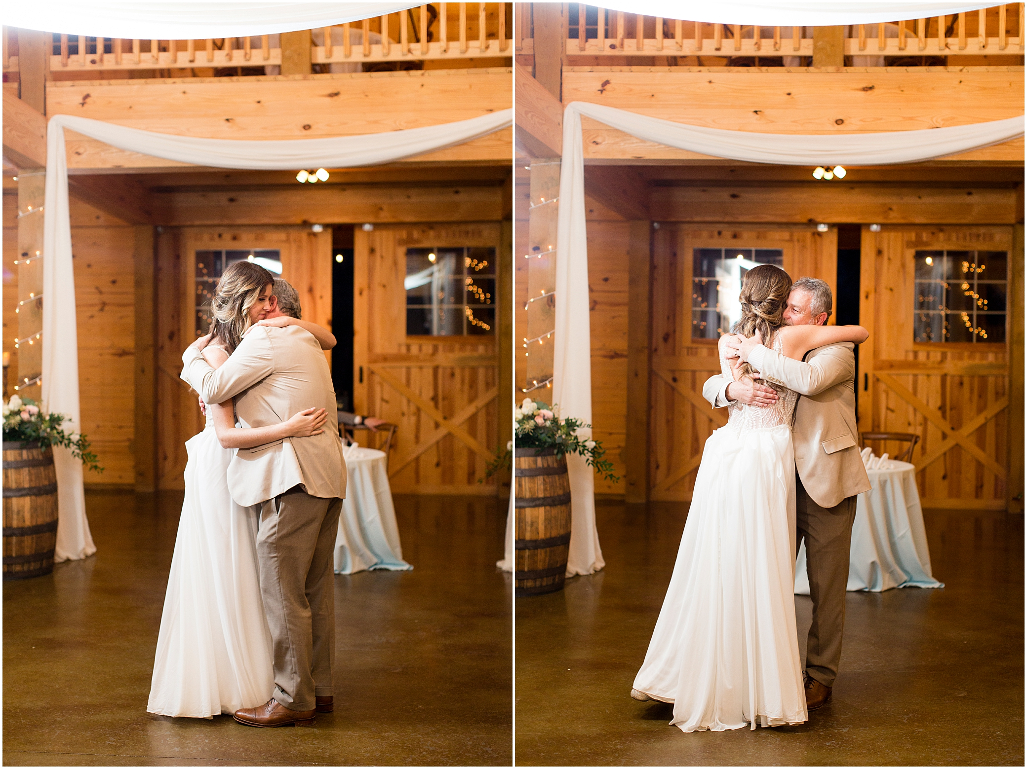 wedding reception in barn at sierra vista wedding, father and daughter dance