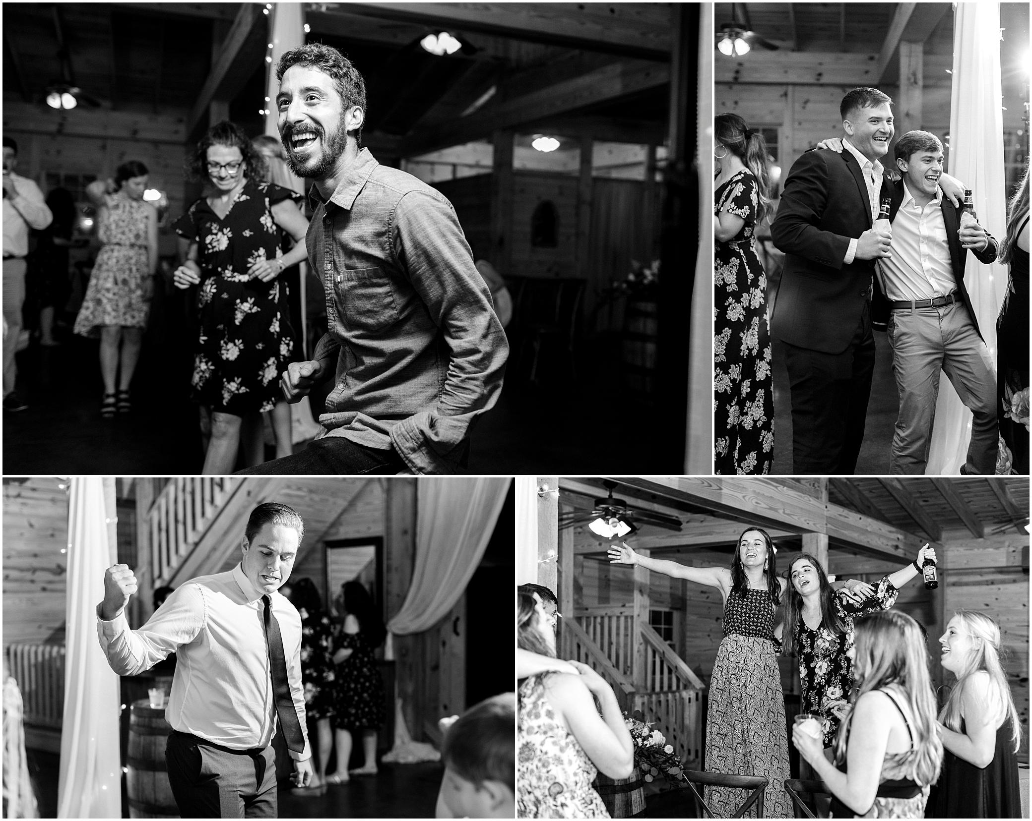 wedding reception dancing in barn at sierra vista wedding