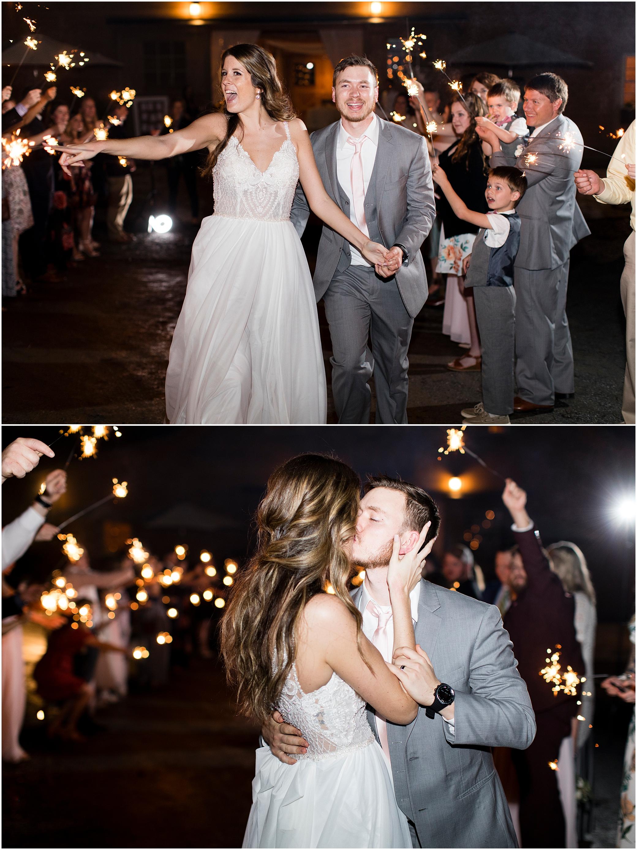 sparkler wedding reception exit at sierra vista wedding