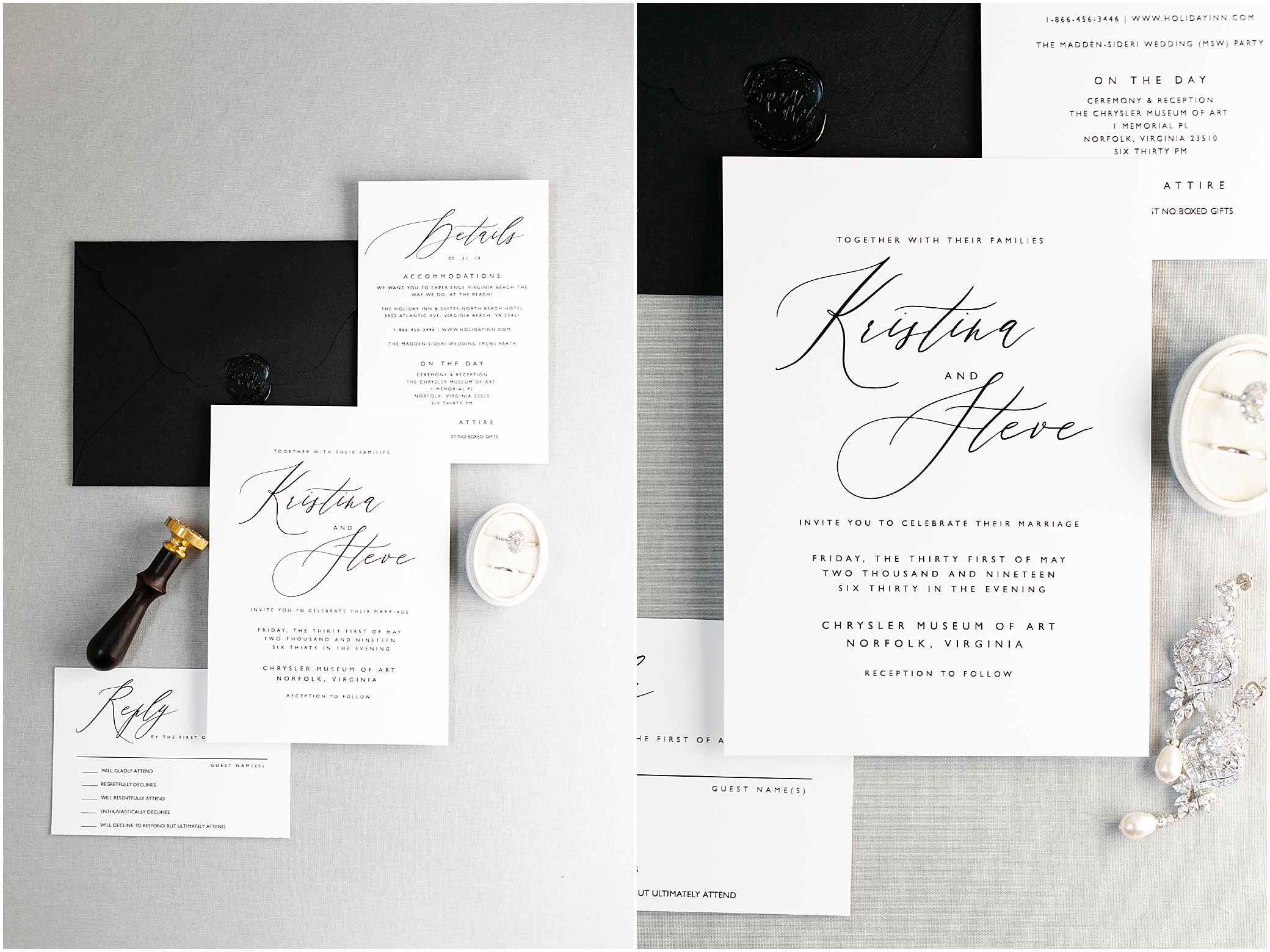 Chrysler museum wedding in Norfolk Virginia, classic black and white wedding invitation