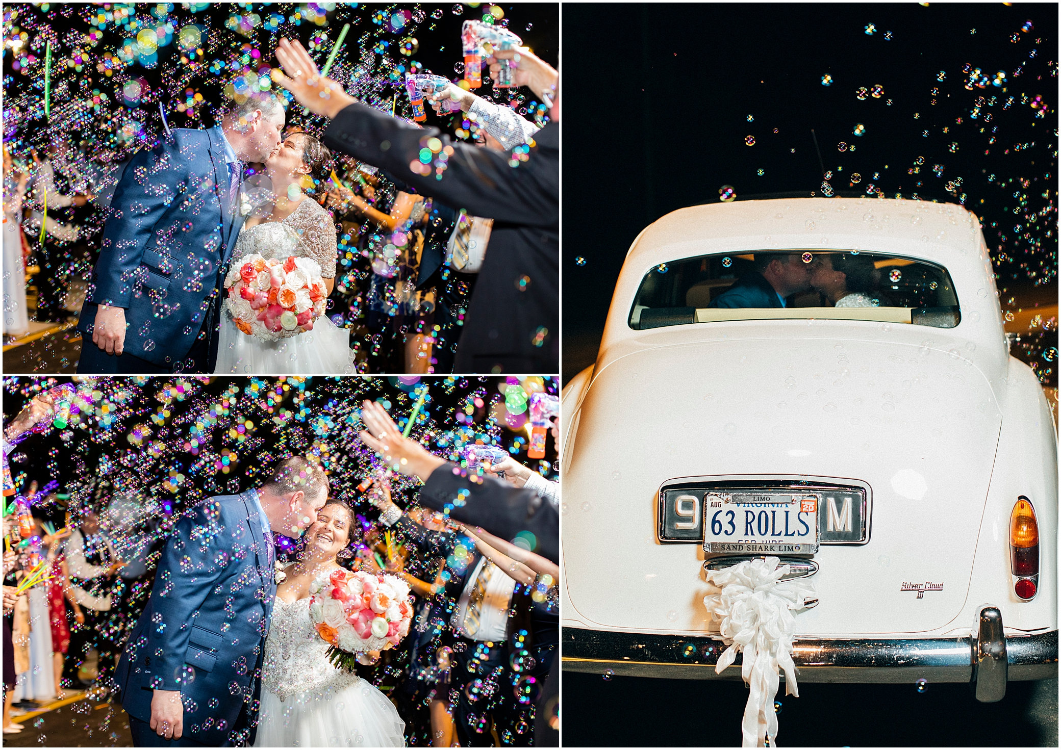 spring wedding day at the botanical gardens in Norfolk Virginia, rolls royce wedding exit, bubble exit