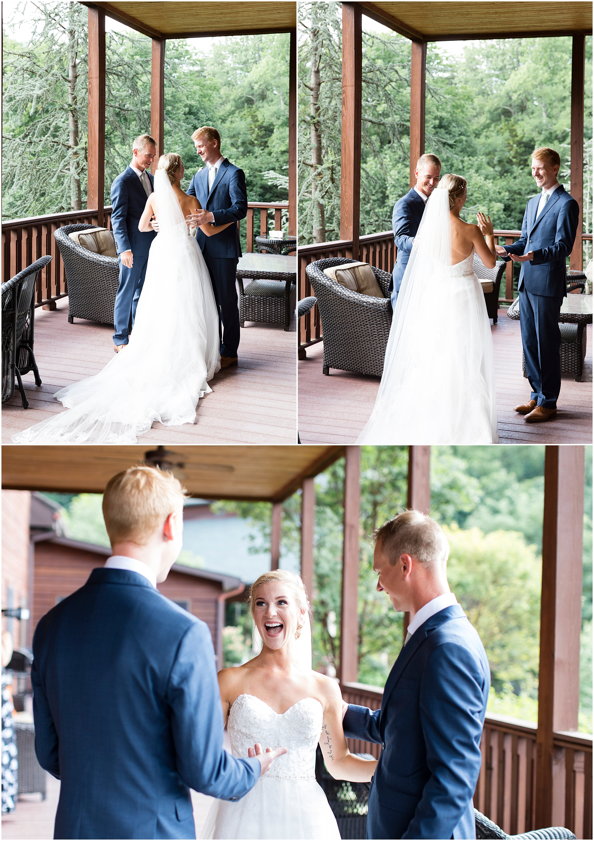 House Mountain Inn Wedding, Virginia wedding in the mountains, bride first look with her brothers