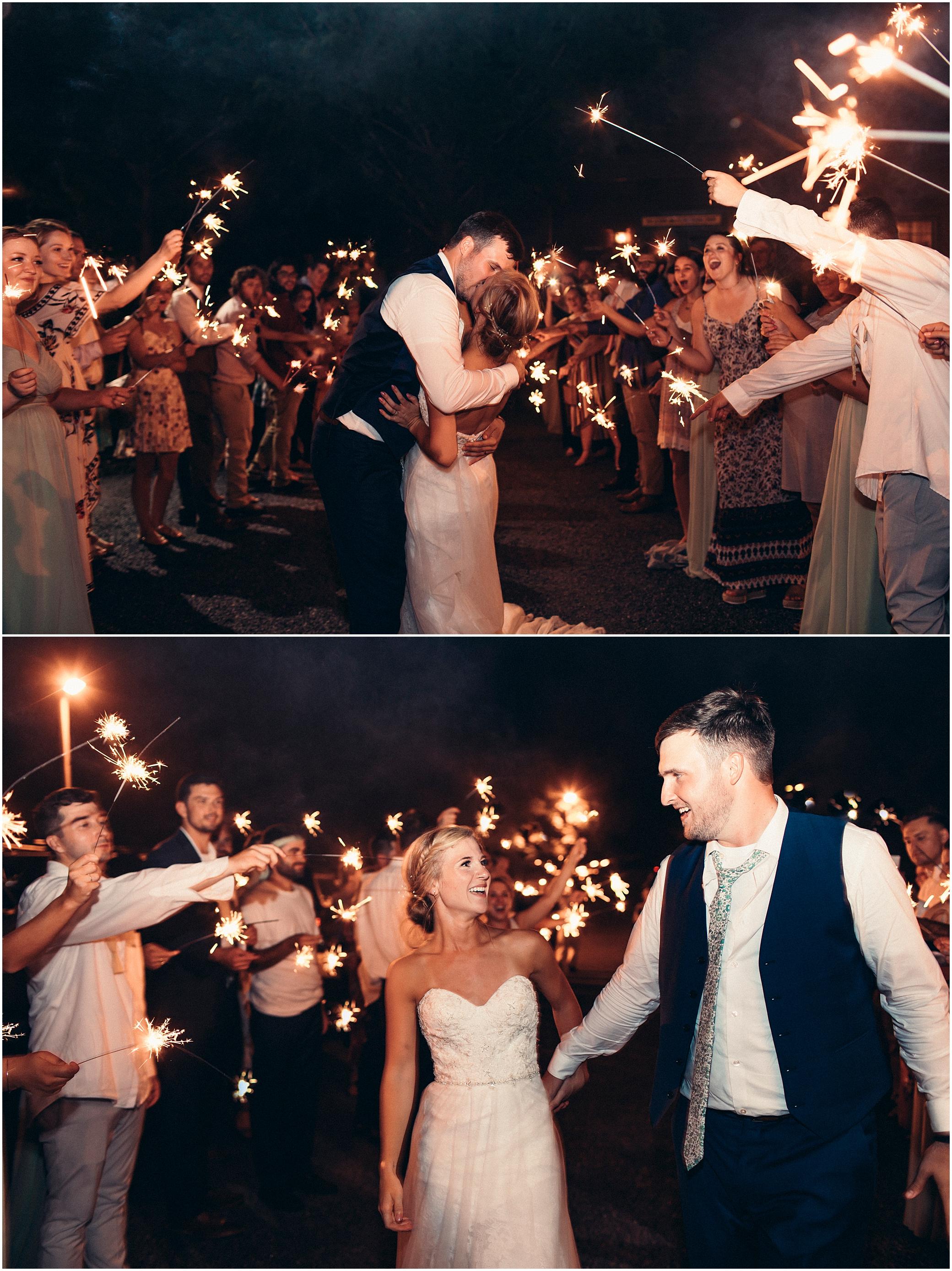 house mountain Inn wedding, wedding reception, sparkler exit