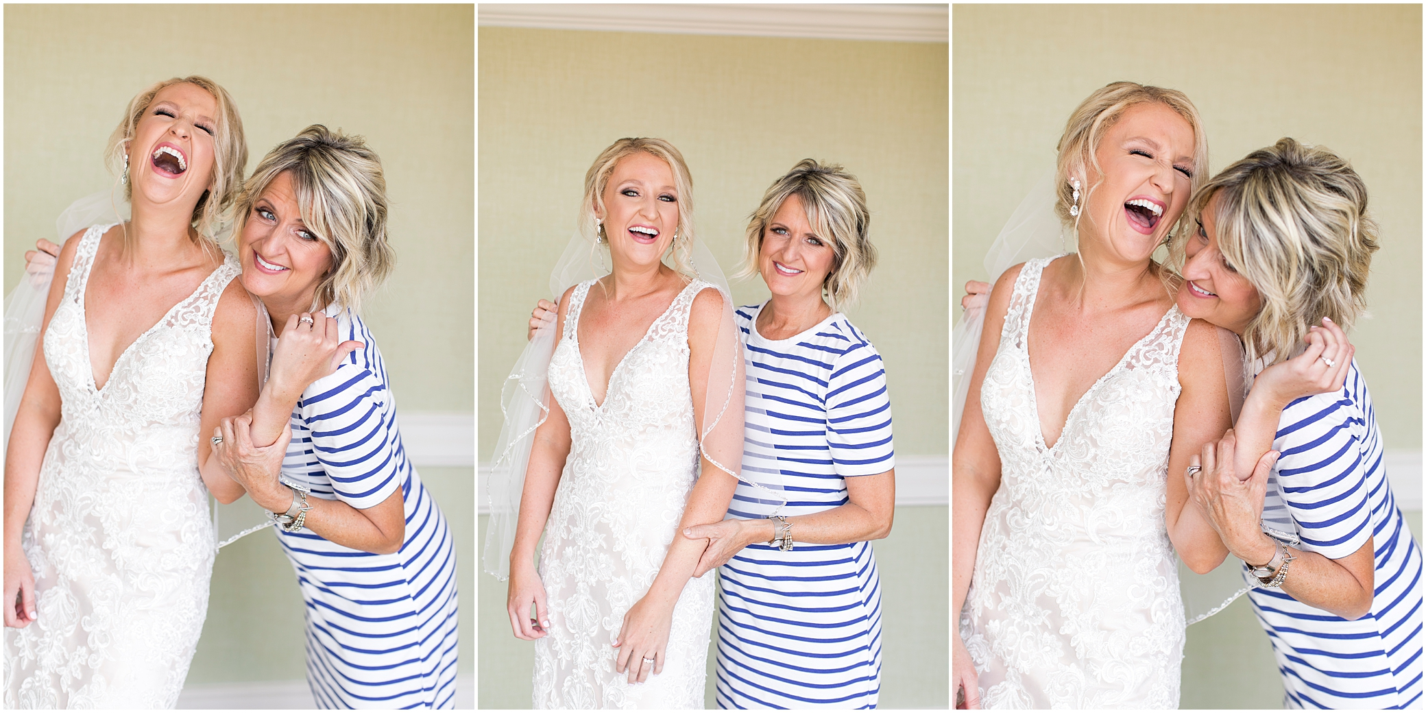 virginia beach wedding photography, mom and bride laughing