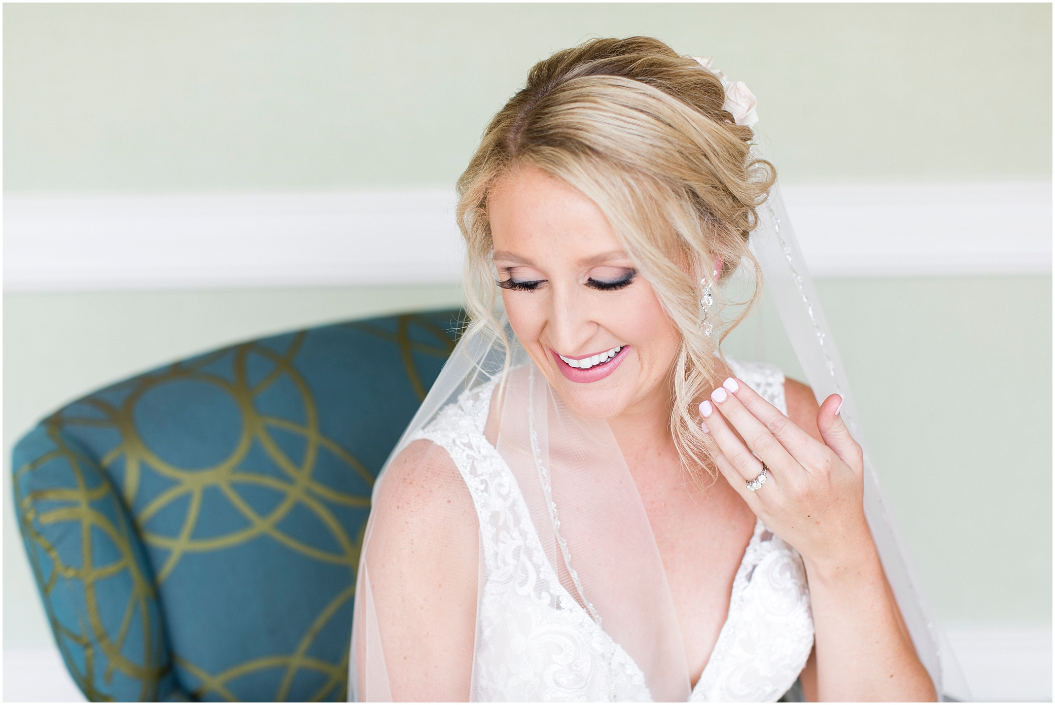 virginia beach wedding photography, bride putting on jewelry, here and now bridal wedding dress