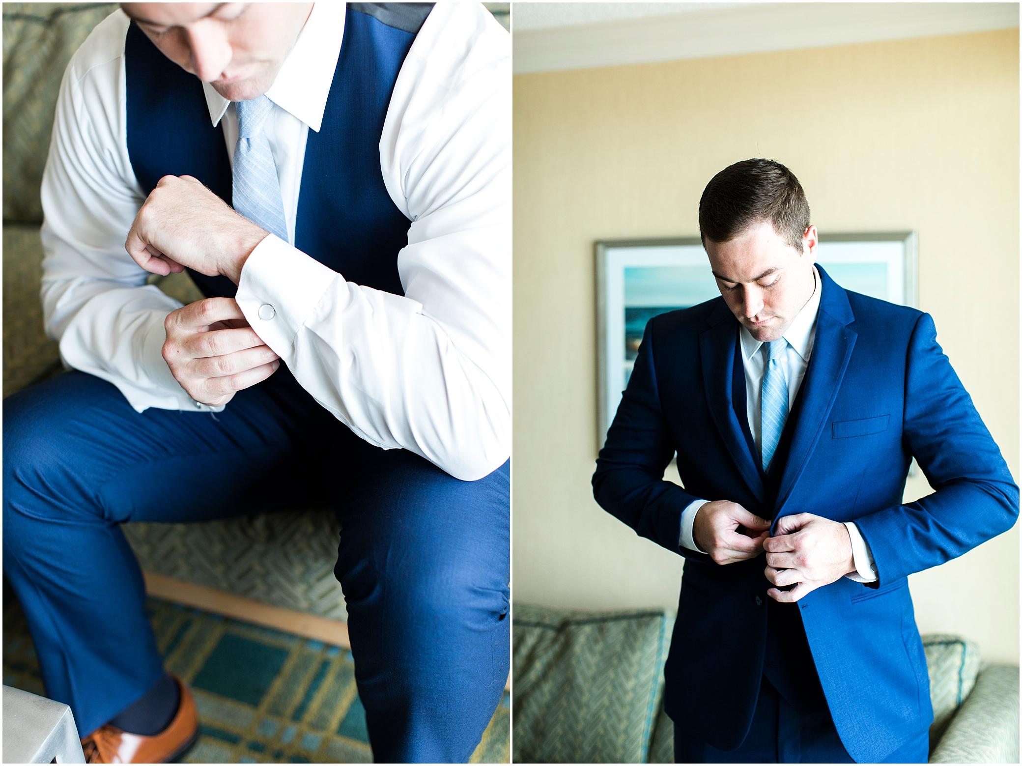 virginia beach wedding photography, groom getting read