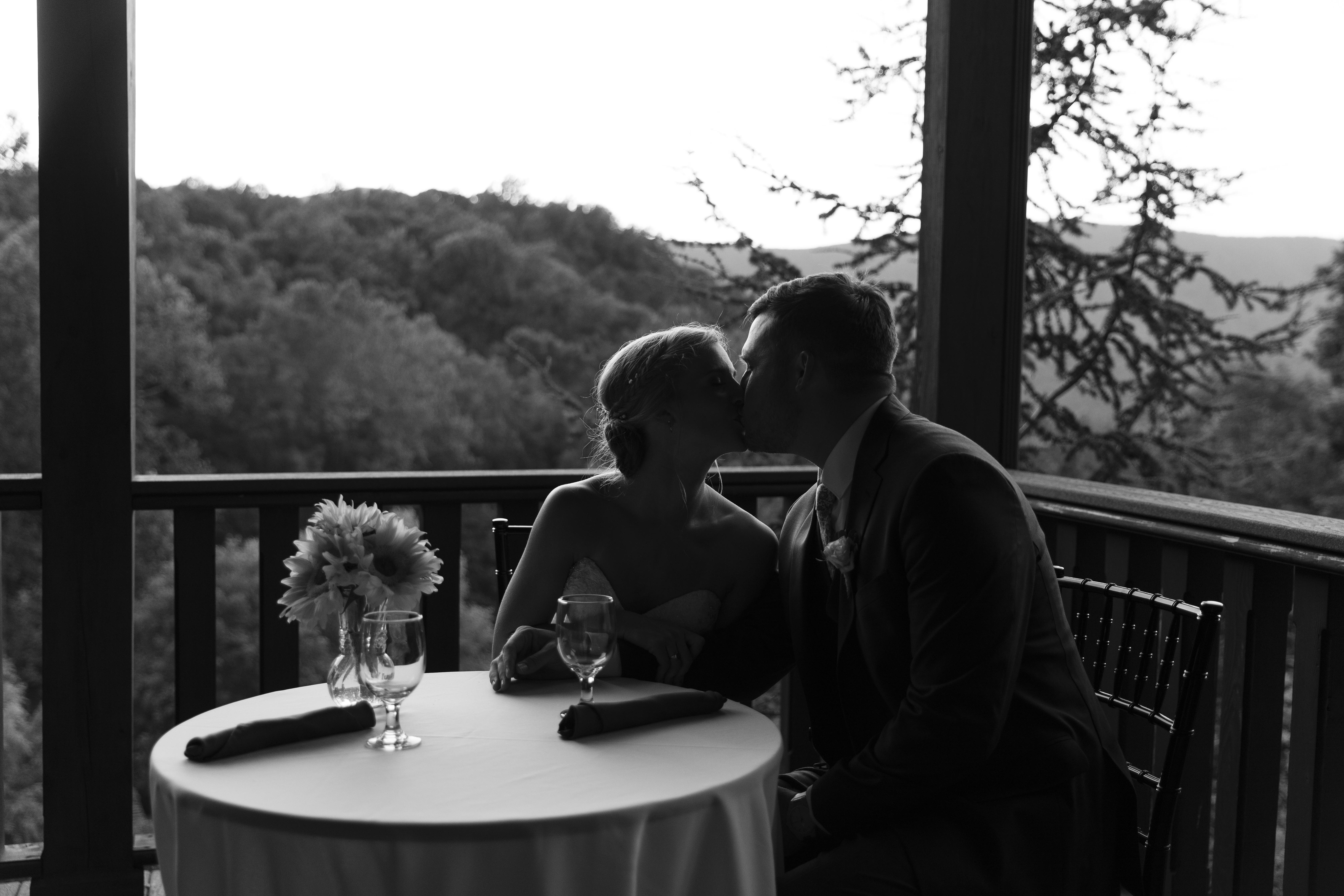 house mountain Inn wedding, wedding reception, bride and groom private dinner