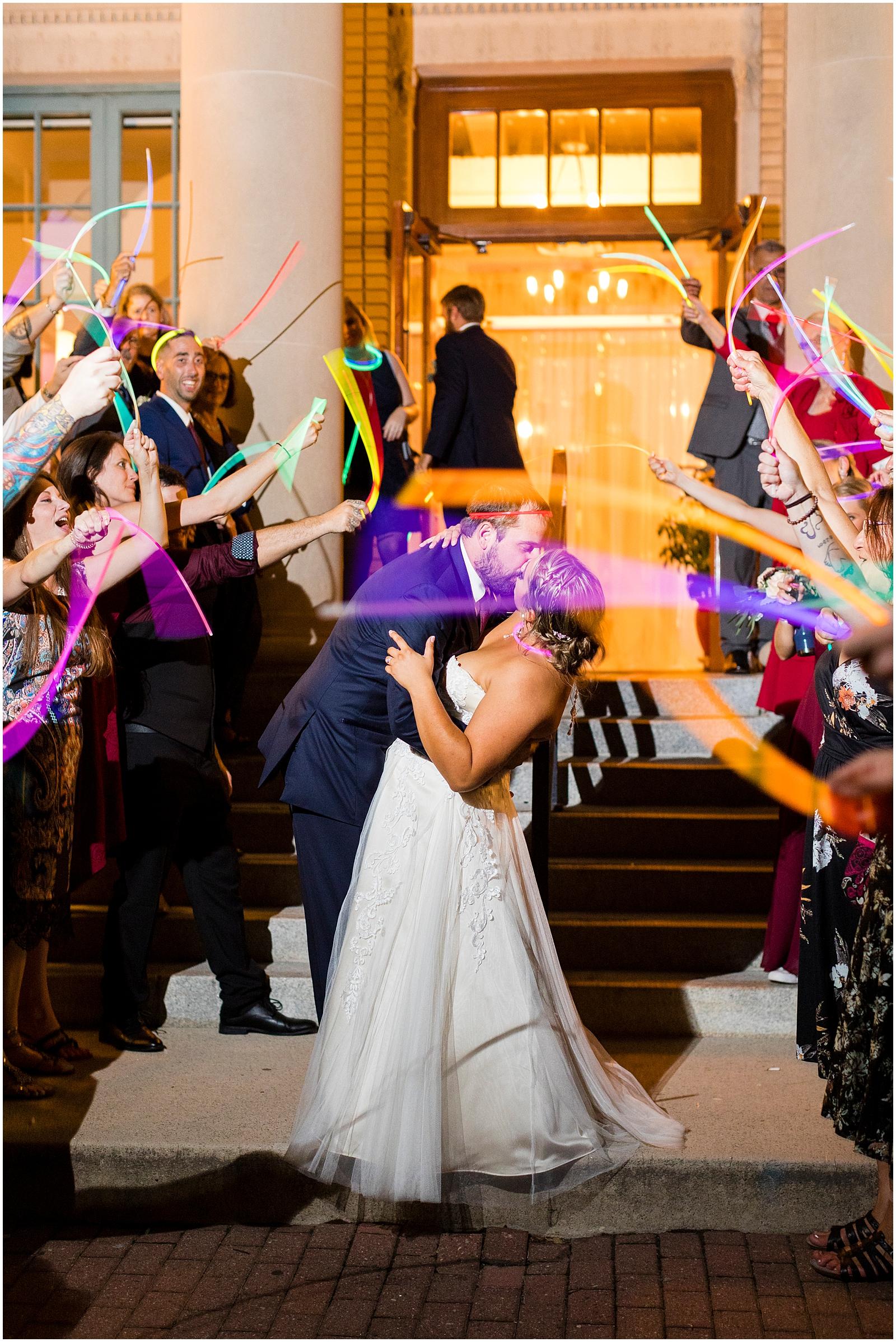 glow stick exit, historic post office, wedding