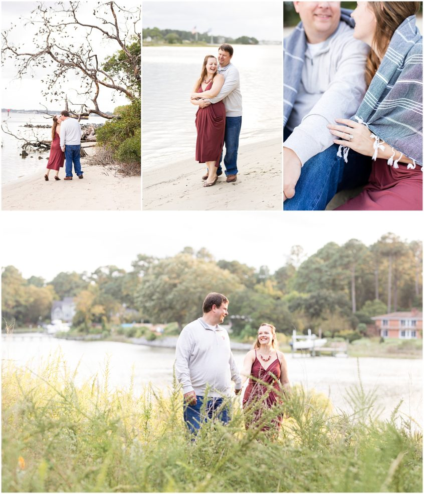 first landing state park engagement, beach, virginia beach photographer, the narrows, couple walking on the beach, fall engagement photography, fall